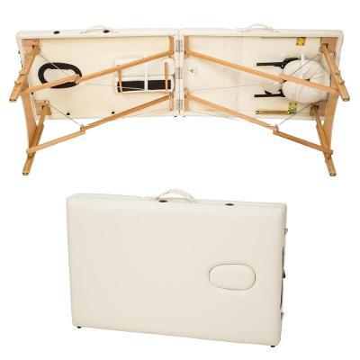 tectake 401465 skládací masážní lehátko dřevěné 3 zóny - béžová