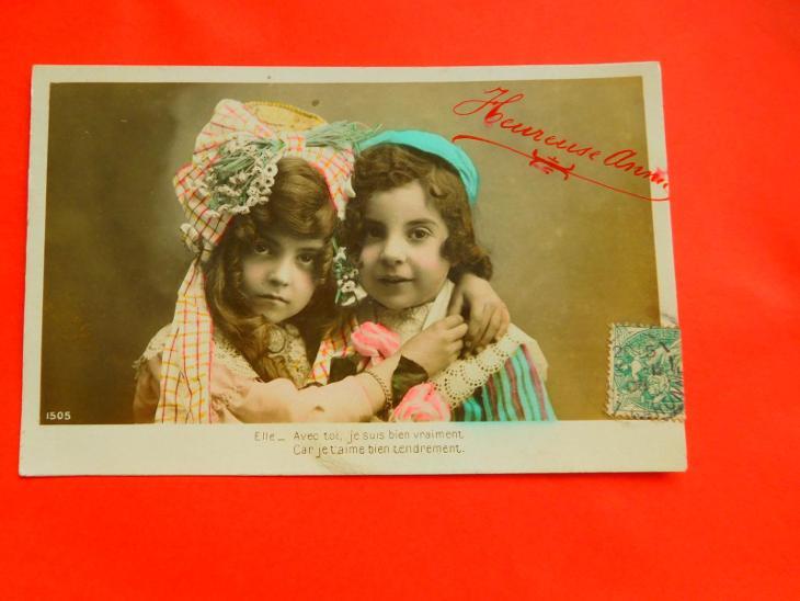 DĚVČÁTKO CHLAPEC 1908 - Pohlednice