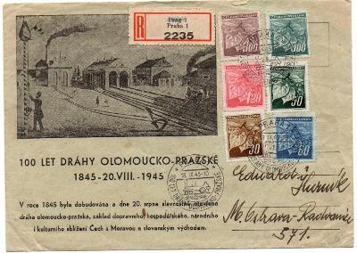 Přílež. obálka 100 let dráhy Olomoucko - pražské; s přích.