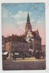 Opava (Troppau), náměstí, tramvaj, kolorovaná