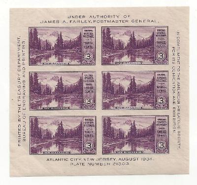 USA 1934 Aršík-Sheet Mount Rainier Sc 750