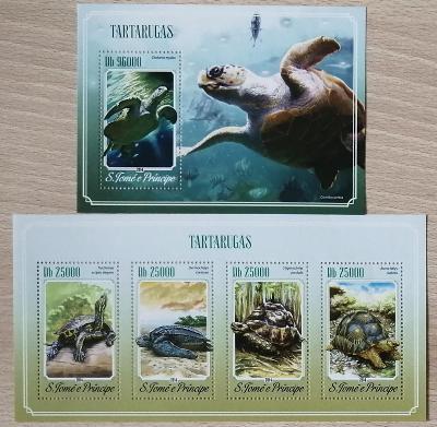 Svatý Tomáš 2014 Mi.5895-8+Bl.1035 20€ Želvy suchozemské a mořské