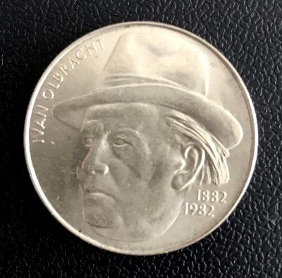 vzácná stříbrná mince 100 Kčs 1982 Ivan Olbracht, perfektní stav!