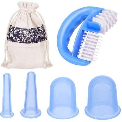 Sada masážních silikonových baněk proti celulitidě 5 ks modré + dárek