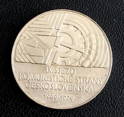 Stříbrná mince 50 K�s IX. sjezd KSČ 30. výro�í 1979, perfektní stav!