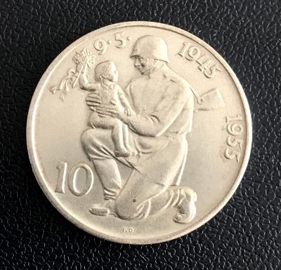 Vzácná stříbrná mince 10. výročí osvobození Československa,1955