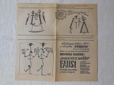 Plakát, nebo leták na divadelní představení SEMAFORU z roku 1961.