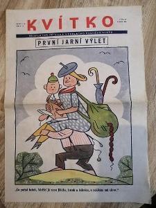 NOVINY - KVÍTKO - PRVNÍ JARNÍ VÝLET - ročník 12 číslo 19 rok 1938