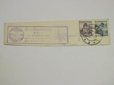 Ústřižek pohlednice Rakousko 1935 se známkami