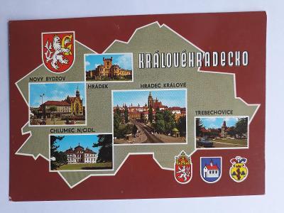 Královéhradecko - znak měst - pohlednice VF