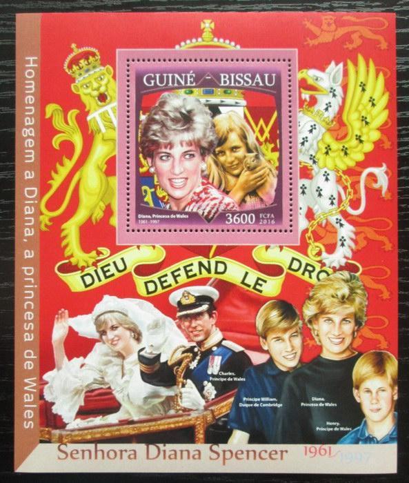 Guinea-Bissau 2016 Princezna Diana Mi# Block 1503 Kat 13.50€ 2475 - Filatelie
