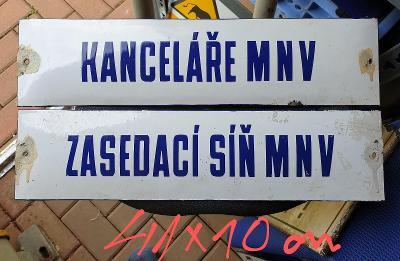 2x Staré smalt cedule MNV