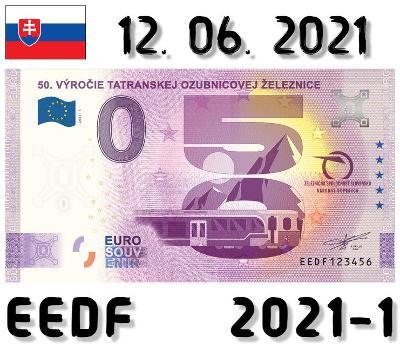 0 Euro Souvenir | 50. VÝROČIE TATRANSKEJ ŽELEZNICE | EEDF | 2021