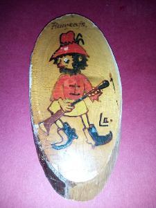 Obrázek na dřevě kreslený Rumcajs výška 15 cm