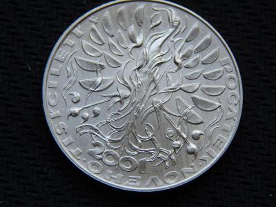 200 Kč 2001 / ČNB / nové tisíciletí / stříbro / Top stav /