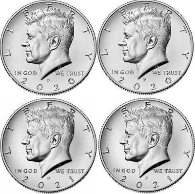 Kennedy Half Dollar 2020 P a D, 2021 P a D - 4 kusy, UNC, z bank.pytle