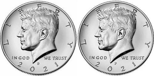 Kennedy Half Dollar 2021 P a D - UNC,z bank. pytle, sada