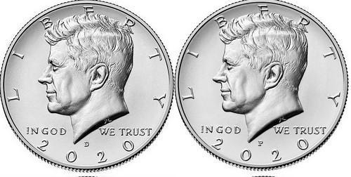 Kennedy Half Dollar 2020 P a D - UNC,z bank. pytle, sada