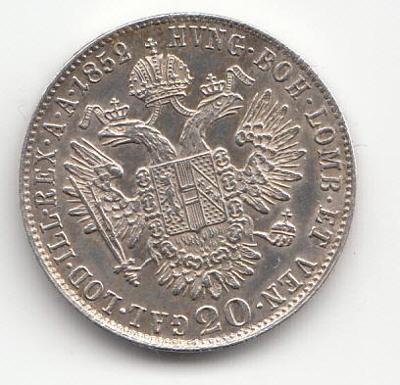 "Fr.J.I. 1848-1916, 20 Kreuzer 1852 B, ""R"" super stav TOP,"