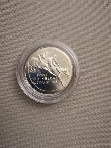 Stříbrná mince 100 Kčs Velká Pardubická 1990 - Perfektní Stav