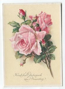 Srdečné přání k svátku - RŮŽE, kytice, květiny, flóra, Německo