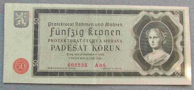50 korun 1940 série A 05, Neperforovana