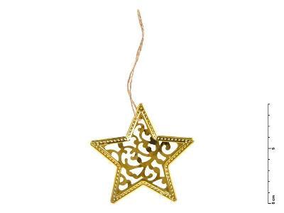 Hvězda kov zlatá 9 cm - závěs