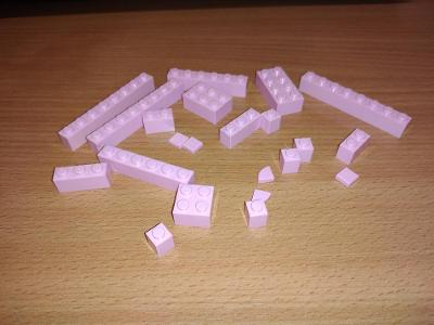 Lego díl - mix růžových kostiček
