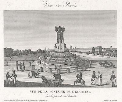Paris Place Bastille, Tessier,  mědiryt , (1830)