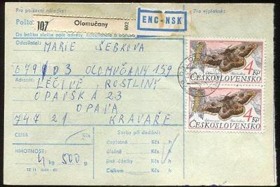 Balíková poštovní průvodka výplatné - Olomučany