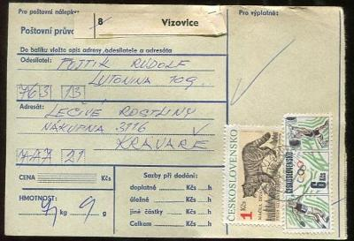 Balíková poštovní průvodka výplatné - Vizovice