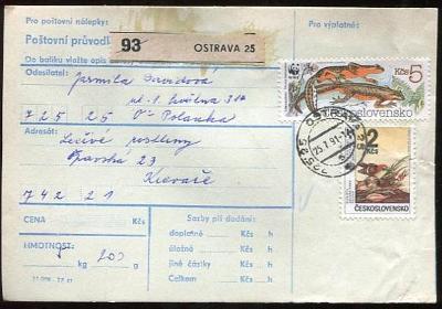 Balíková poštovní průvodka výplatné - Ostrava