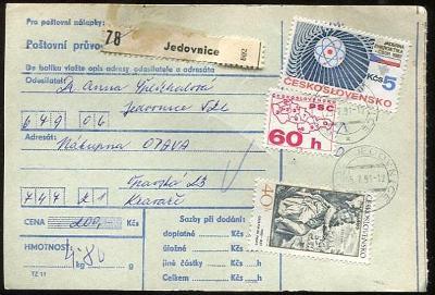 Balíková poštovní průvodka výplatné - Jedovnice
