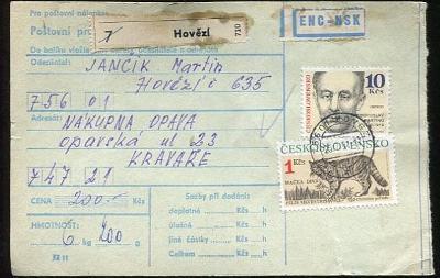 Balíková poštovní průvodka výplatné - Hovězí