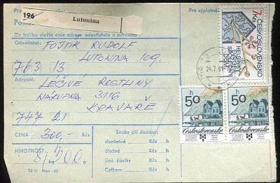 Balíková poštovní průvodka výplatné - Lutonina