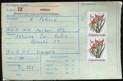 Balíková poštovní průvodka výplatné - Mořkov