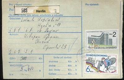 Balíková poštovní průvodka výplatné - Hevlín