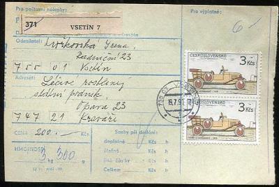 Balíková poštovní průvodka výplatné - Vsetín