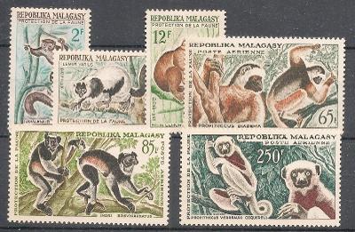 Madagaskar 1961 ** lemury fauna  komplet mi. 467-472