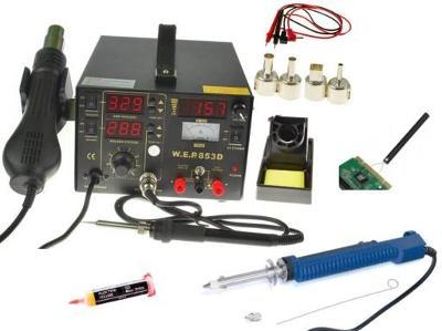 Pájecí stanice 853D 5v1 15V Mikropájka + FLUX 223 Elektrický odsavač
