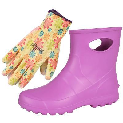 Dámské holínky Garden LEMIGO, růžové + květinové rukavice, rozměr 38