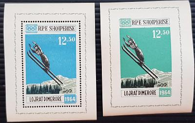 Albánie 1963 Olympijské hry Innsbruck 64, 2ks aršík, kat. 75 Euro!