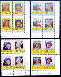 Montserrat 1985 královna Elizabeth, 4x soutisk, celkem 16ks známek!