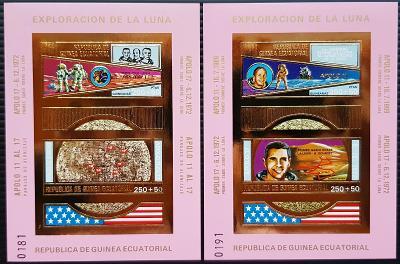 Guinea Ecuatorial 73 KOSMOS, Apollo 11,17, 2x aršík gold, kat. 40Euro!