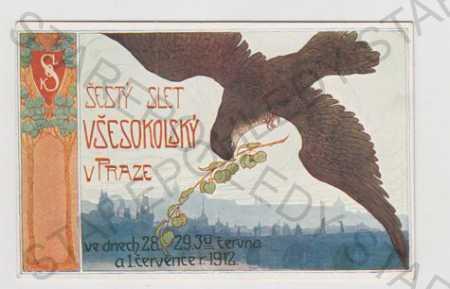 Sokol, slet, pták, Praha, panorama, erb, kolorovan