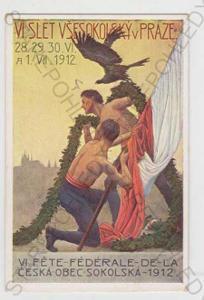 Sokol, slet, muž, pták, vlajka, kolorovaná