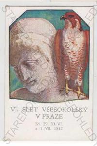 Sokol, slet, socha, busta, pták, kolorovaná