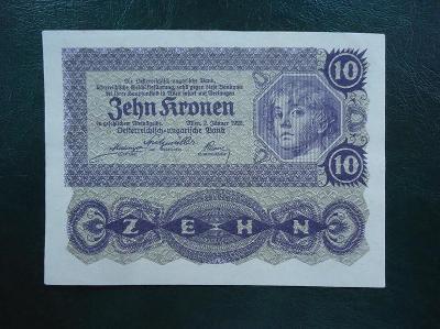 10 Kronen 1922 Bez Pretisku Luxusni Stav