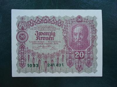 20 Kronen 1922 Bez Pretisku Luxusni Stav