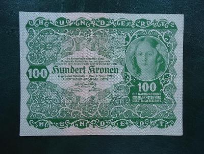 100 Kronen 1922 Bez Pretisku aUNC